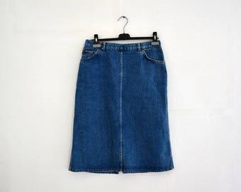 Vintage jeans skirt LEE COOPER / Denim Blue / High waisted skirt / long skirt size 40