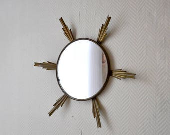 Vintage sunburst mirror / gold metal mirror 60s