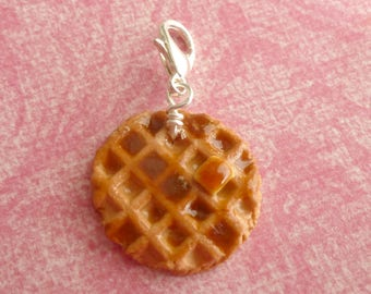 Buttery Syrup Waffle Charm Miniature Food Jewelry Polymer Clay Waffle
