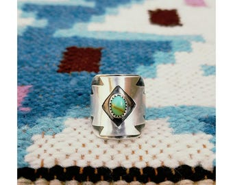 Kingman Turquoise Sterling Silver Southwestern Ring