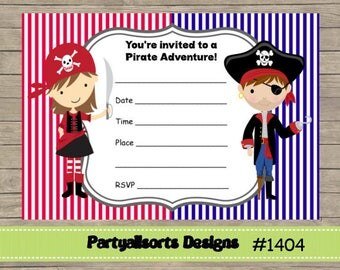 DIY - FILL IN Yourself Pirate Girl and Boy/Childrens Party Invitation