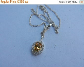Summer Sale Vintage Sterling Silver and Gem Stone Necklace and Pendant