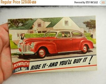 Summer Sale Vintage 1941 Plymouth Ride it - And Youll Buy It Advertisment Post Card