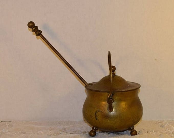 Featured listing image: DELAYED SHIPPING Brass Smudge Pot Vintage Firestarter Brass Cauldron Brass Lid Handle Soapstone Pumice Wand Patina 3 Piece Set Brass Firepla