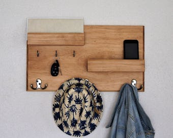 wall mounted wood coat rack floating entryway hallway key hooks sunglasses and phone storage organizer