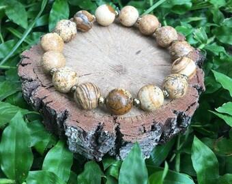 Dorothy Bracelet- Picture Jasper(10mm) -Natural Gemstone Bracelet - Boho Bracelet - Oliver Grey Jewelry - Jasper Bracelet- Healing Bracelet