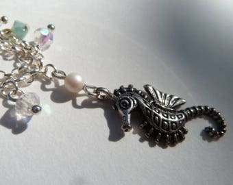Mermaids seahorse and crystal charm bracelet