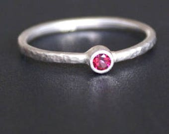 handmade engagement ring micro-matt: 3 mm Ruby Topaz, 925 Silver