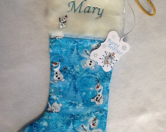 Blue and White Christmas stocking with trim