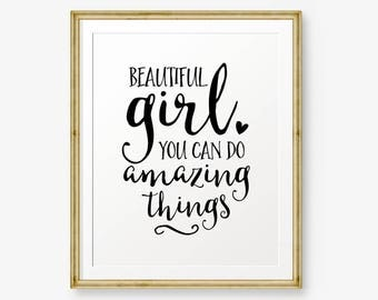 Beautiful girl you can do amazing things, Nursery printable, Children decor, Girl's Room Decor, Gift for Daughter, Gold nursery