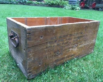 Old Wood Box Cast Iron Handles Vintage Tool Box Primitive Man Cave Storage Bin Dovetail Heavy Construction Rustic Decor