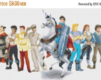 "disney princes Counted Cross Stitch disney princes Pattern chart pdf file needlepoint needlework - 17.71"" x 9.21"" - L908"