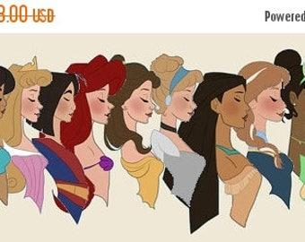"disney princesses Counted Cross Stitch disney princesses Pattern point de croix, needlepoint - 17.86"" x 6.71"" - L1262"