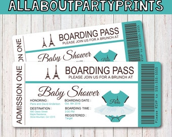 TEAL-Paris baby shower passport and boarding pass Invitation-Invitation Printable- JPEG Format printables-digital file