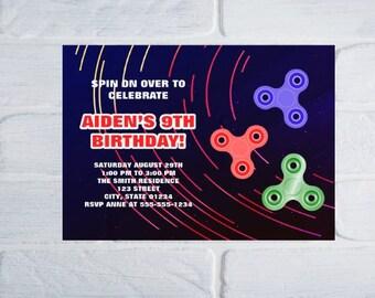 Fidget Spinner Invitation, Spinner Birthday Party Invitation, Spinner Ring Invitation, Spinner Ring Invite, Spinner Invite, Spinner Party