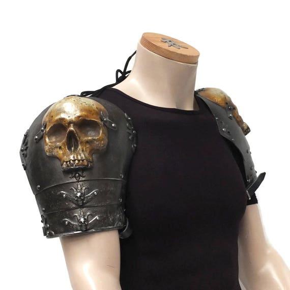 Larp Armor Ominous Skull Pauldrons, cosplay armor, bone, skeleton