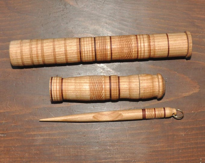 Hand made from cherry wood 1-stitch lay helper tool and storage case plus needle case