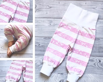 Baby Girl Pants - 0-3 months Girl Pants - pink pants - striped girl pants - Baby Shower Gift - Baby Girl Clothes - White Baby Girl Pants