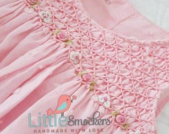 Gorgeous pale pink spot voile hand smocked infant top and bloomers - size 0-3 months