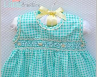 Beautiful Acqua green hand smocked baby dress  - Size 1