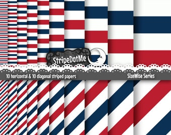 4th of July Digital Paper, Fourth of July, Red Blue Stripes, Patriotic Paper, Red White and Blue, Blue Stripes, Independence Day, 00045