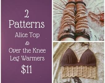 2 PATTERNS | Over the Knee Leg Warmers & Alice Top Pattern | Crochet Tops | Leg Warmers | Thigh Highs | Festival Top | Crochet Halter Top