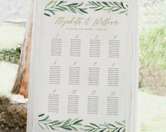 Greenery Wedding Seating Chart Template • Printable Seating Chart • Vintage Florals Wedding • Editable in Word/Pages • MAC/PC