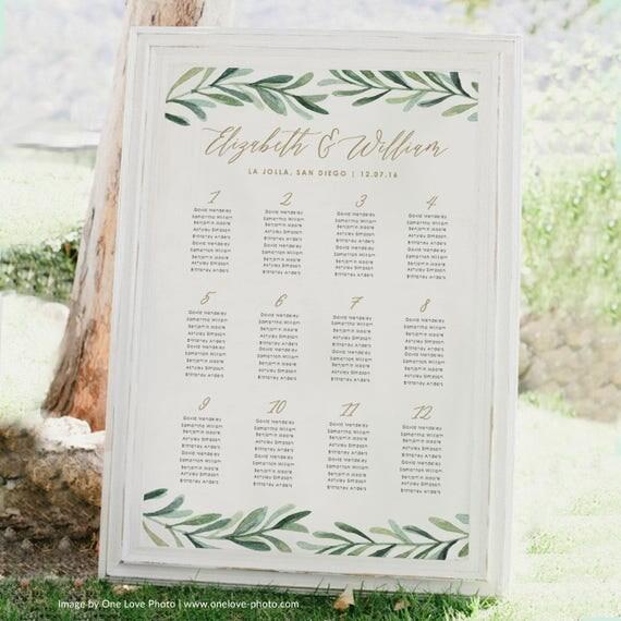 Greenery Wedding Seating Chart Printable Seating Chart