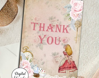 A6 Alice in Wonderland Thank You Card Printable,Digital,printable card,Thank You,Baby Shower Thank You