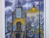 Narberth Moonlit stroll by Andrew Bailey. Limited signed print. Pembrokeshire scene. Welsh art paintings watercolour. Town moon night scene.
