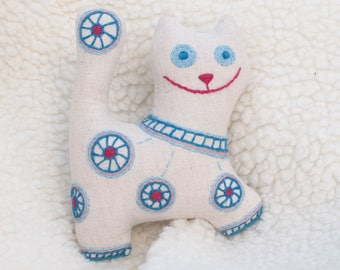 Soft cat. Stuffed toy cat. Baby boy gift. Linen baby toy. Fabric cat. Embroidered animal. Gift for cat lover