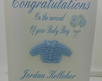 Stunning keepsake personalized boy card, with cute Cardigan.