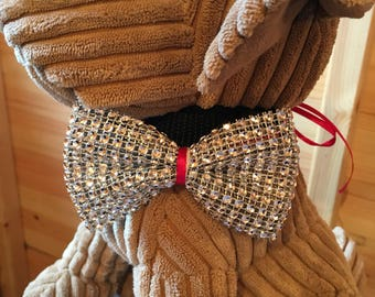 Pets sparkly silver bow tie with ribbon