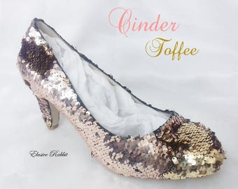 Cinder Toffee Rose Gold Wedding Bridal Scales Mermaid Reversible Sequin Heels Custom Personalized Shoe High Stiletto Size 3 4 5 6 7 8 Party
