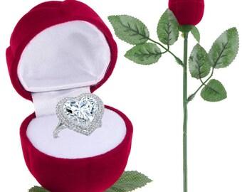 stem of rose shaped ring box