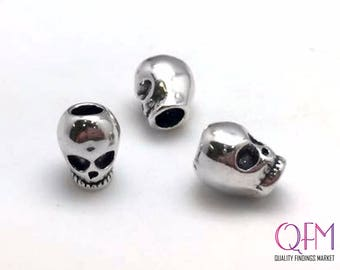 1pc Sterling Silver 925 Sterling Silver Skull Bead, Silver Skull Charm, Small Skull Charm, Antique Silver Skull Charm, 11.5x9mm