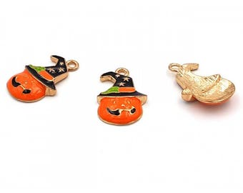 3 charms enamel pumpkin Halloween Hat 27mm