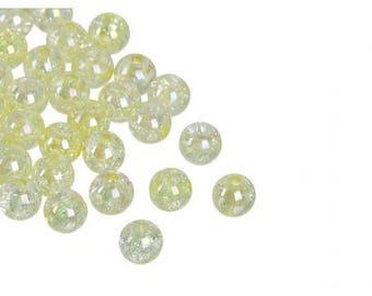 100 beads cracked yellow 8mm