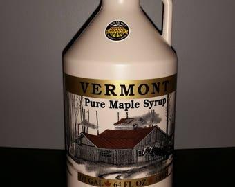 half gallon Vermont Organic Amber maple syrup.