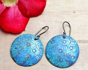 Copper earrings, Copper jewelry, Hammered earrings, Patina earrings, Blue earrings, Boho earrings Bohemian , Sterling silver ear wire, Gift