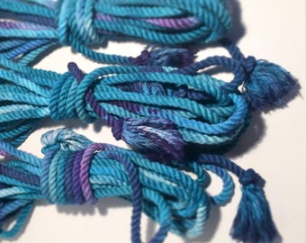 Bermuda Triangle  - 3 x 100% Cotton Hand-dyed Shibari Bondage Rope, 25ft each, 75ft total //  blue, purple, baby blue, teal