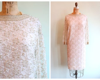 Vintage 1960's Beaded White Lace Party Dress | Size Large