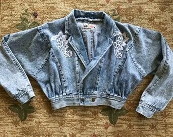VTG 90s Acid Wash Cropped Denim Jacket