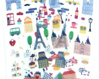 Paris Travel Stickers, Paris Agenda Stickers, French Tourist Stickers, French Stickers, Paris Landmarks, Eiffel Tower Stickers 2 sheets