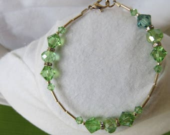 Green and white crystal bracelet in silver