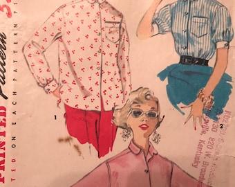 Vintage 1960's Classic Blouse Pattern---Simplicity 4854---Size 16  Bust 34