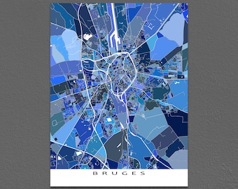 Bruges Map Print, Bruges Belgium, Europe City Art Map Poster, Blue