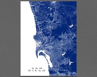 San Diego Map, San Diego California Map Print San Diego Art Map Prints