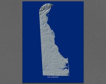 Delaware Map, Delaware Wall Art, DE State Art Print, Landscape, Navy Blue