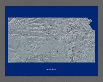 Kansas Map, Kansas Wall Art, KS State Art Print, Landscape, Navy Blue